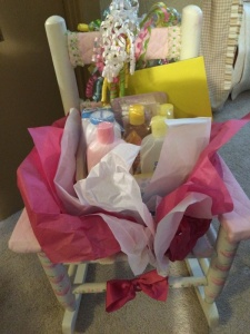 baby chair with gifts